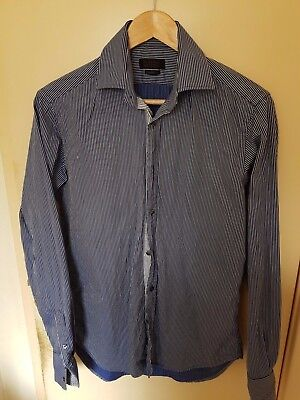 Zara Man Mens Shirt Sz 38 Business Formal Smart Made in Morocco Striped