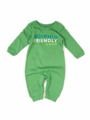 Little Green Radicals Organic Babygrow all in one Playsuit  3 6 9 12 LGR DOLPHIN