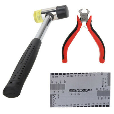 Luthiers Repair Tools Hammer Fret Puller String Cutter Removal Plier w Ruler