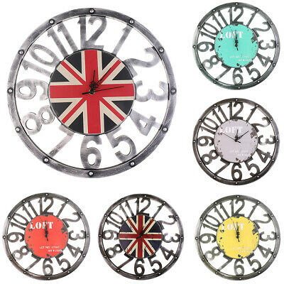 """Vintage Rustic Wooden Wall Clock Antique Shabby Chic Home Kitchen Decor 16"""""""
