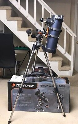 Used Celestron AstroMaster 114EQ 8.77 Newtonian Telescope with a 10mm eyepiece.