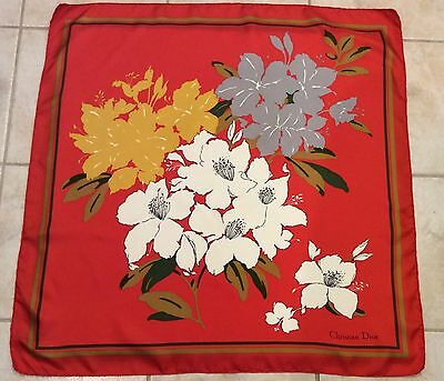 "Christian Dior Scarf Red-Orange Floral Olive Green Gold Off White 30""X 30"" Silk?"