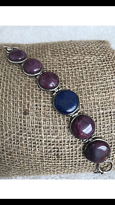 Vintage Large Raw Genuine Pink Ruby and Lapis Lazuli Silver Bracelet