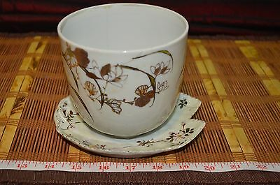 Vintage asian Porcelain Bowl Attached Underplate, Raised Gold & Floral Pattern