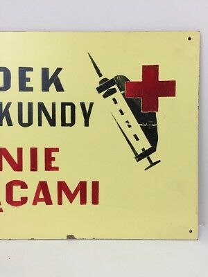 """Vintage Warning Sign """"Accident"""" Made in Poland Industrial Signage"""
