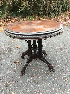 "ANTIQUE VICTORIAN MAHOGANY Round SIDE/END TABLE 33"" Dia Gothic Spindle Cut Outs"