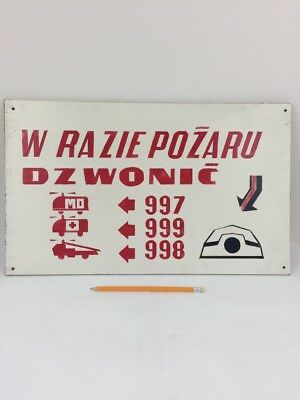 """Vintage Wall Sign Made in Poland """"Emergency Numbers"""" Industrial Decor Signage"""
