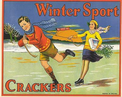 Winter Sport young couple ice skating  British Cracker Box label Batgers