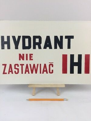 """Vintage Wall Sign """"Hydrant"""" Made in Poland Industrial Warning Signage"""