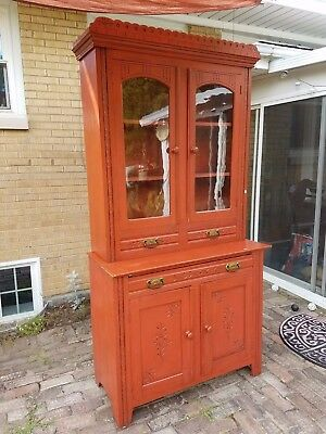 Antique Country Style Hutch with brass handles