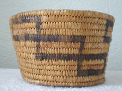 Vintage Native American Indian Coiled Woven Basket / Apache - Pima?