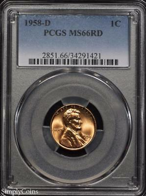 1958-D Lincoln Wheat Penny Cent ~ PCGS MS66 RED ~ STUNNING! D-1421