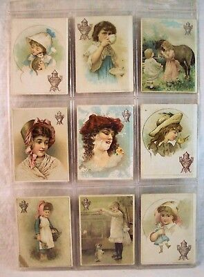 Set 1 Dilworth Coffee Victorian Advertising Trading Cards Girls w Tea Cup, Doll