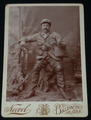 Vintage 1800's Cabinet Card Photo of Fisherman in Full Gear/Holding Catch/Wis.