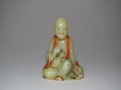A Finely Carved Soapstone Figure of LoHan
