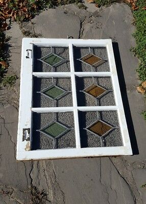 Tudor Mansion Antique Stained Leaded Glass Transom Window