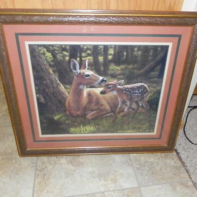 #1810 Retro HOMCO Home Interior CS Forest Mother Deer Doe & Baby Fawn Picture