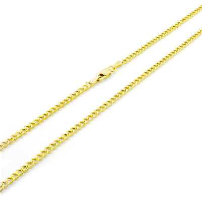 """14K REAL Yellow Gold 2.5MM Curb Cuban Chain Link Pendant Necklace Chain 16""""- 26"""""""
