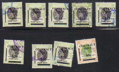 Hong Kong Revenue - Contract Note.overprint (small head, small frame)  Lot of 9
