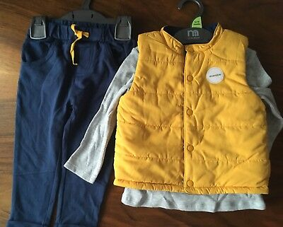 Mothercare 12-18 Months Boys Winter Trousers Body Warmer Set. New.