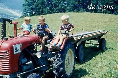 35mm SLIDE PHOTO 1960s happy three little Boys driving? tractor,landscape