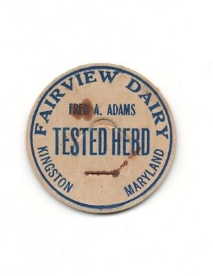 Fred A Adams Fairview Dairy Kingston Maryland Milk Bottle Cap