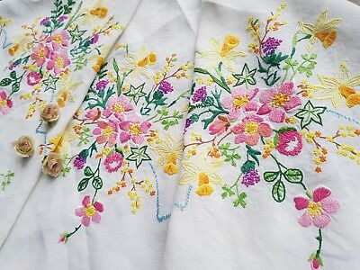 Vintage Hand Embroidered Tablecloth&Traycloth Set with Flowers(2 ITEMS)