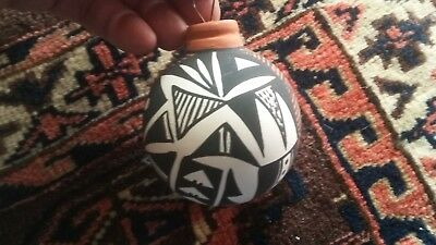 Acoma Pueblo New Mexico Christmas Ornament painted carved Pottery ,Kim Aitso