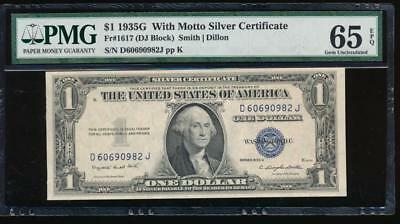 AC 1935G $1 Silver Certificate 'With Motto' PMG 65 EPQ  Fr 1617 gem uncirculated