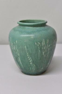Rookwood Pottery Green Matte Vase With Foliage Relief Circa 1932 #6218A