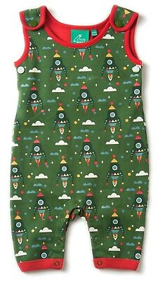 Little Green Radicals Organic DUNGAREES 0 3 6 9 12  Rocket To The Stars  LGR