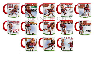 Mugby Mugs - Welsh Rugby Players - Biggar, Warburton, North, Halfpenny & more