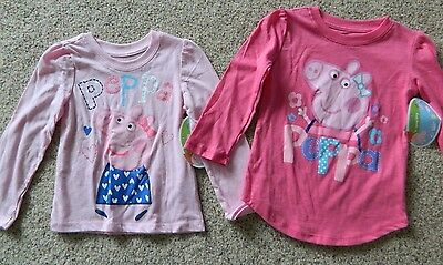 Peppa Pig  2 pack of girls 2T pink T-Shirts w/glitter
