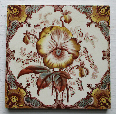 Victorian Floral Transfer Print Tile In Very Good Condition