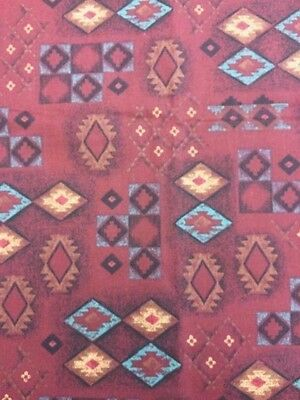 4+Yards Of 2 Vintage Fabrics Native American Design Brown Yellow/turquoise Plaid