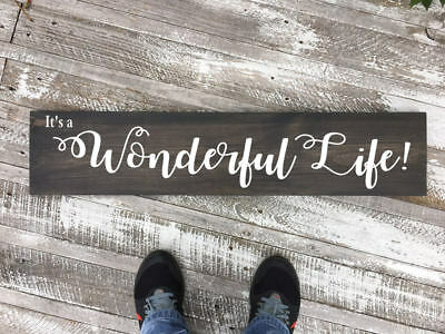 Wonderful life wood sign, hand painted sign, it's a wonderful life wall decor