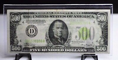 1934 US $500 Lime Green Seal Federal Reserve Note - Low Serial Number [11DU]