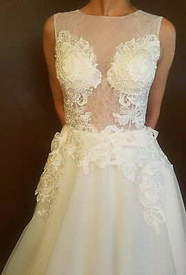Stunning ANVI Couture Bridal Handmade Gown Wedding Dress Fits sz 0-2