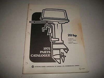 1975 Evinrude & Johnson 20 Hp Outboard Engine Illustrated  Parts Catalog