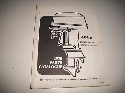 1975 Evinrude & Johnson 40 Hp Outboard Engine Illustrated  Parts Catalog