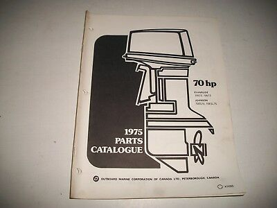 1975 Evinrude & Johnson 70 Hp Outboard Engine Illustrated  Parts Catalog