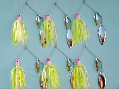 """6-1//2oz SPINNER BAITS /""""BABY BASS/""""  W//HAMMERED  WILLOW  LEAF BLADES"""