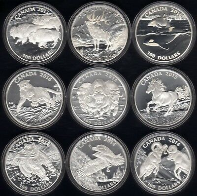 Wow --->  Complete  $100 For $100  Canada  1 Ounce  .9999 Fine  9  Coin  Set !!