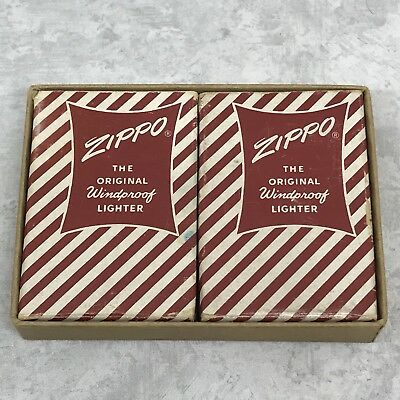 1960's Vintage Zippo Return Boxes - Lot of 2 Red & White Candy Stripe Boxes