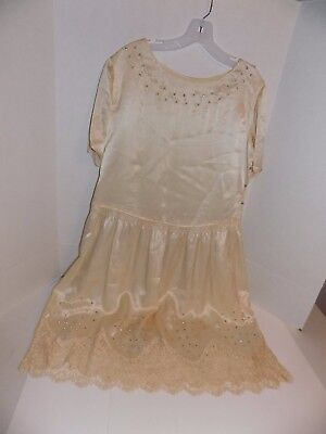 Vintage Satin Dress w/Rhinestones Lot #51