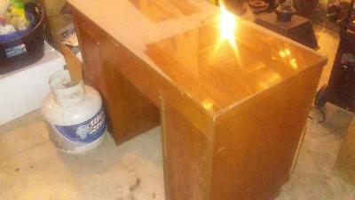 Solid Wood desk with glass plate