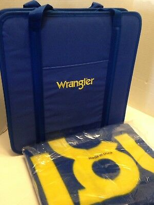 New Wrangler Fleece Throw Blanket and Travel Chair/Stadium Seat Blue/Yellow