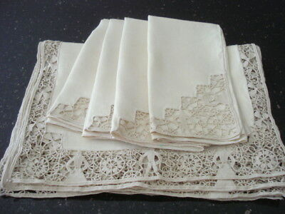 Beautiful Antique Italian Figural Reticella Linen & Lace 4 Placemats/4 Napkins
