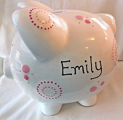 Personalized Customized Ceramic Pink Polka Dot Piggy Bank Perfect Gift XC400PMD