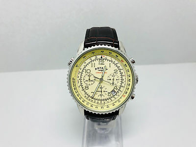 9N New Rotary Mens Chronospeed Watch Brown Leather Strap Chronograph Gs03447/08